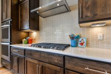 Gas Cooktop and Basketweave Backsplash
