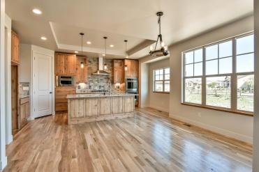 Coffered ceilings and warm wood finishes