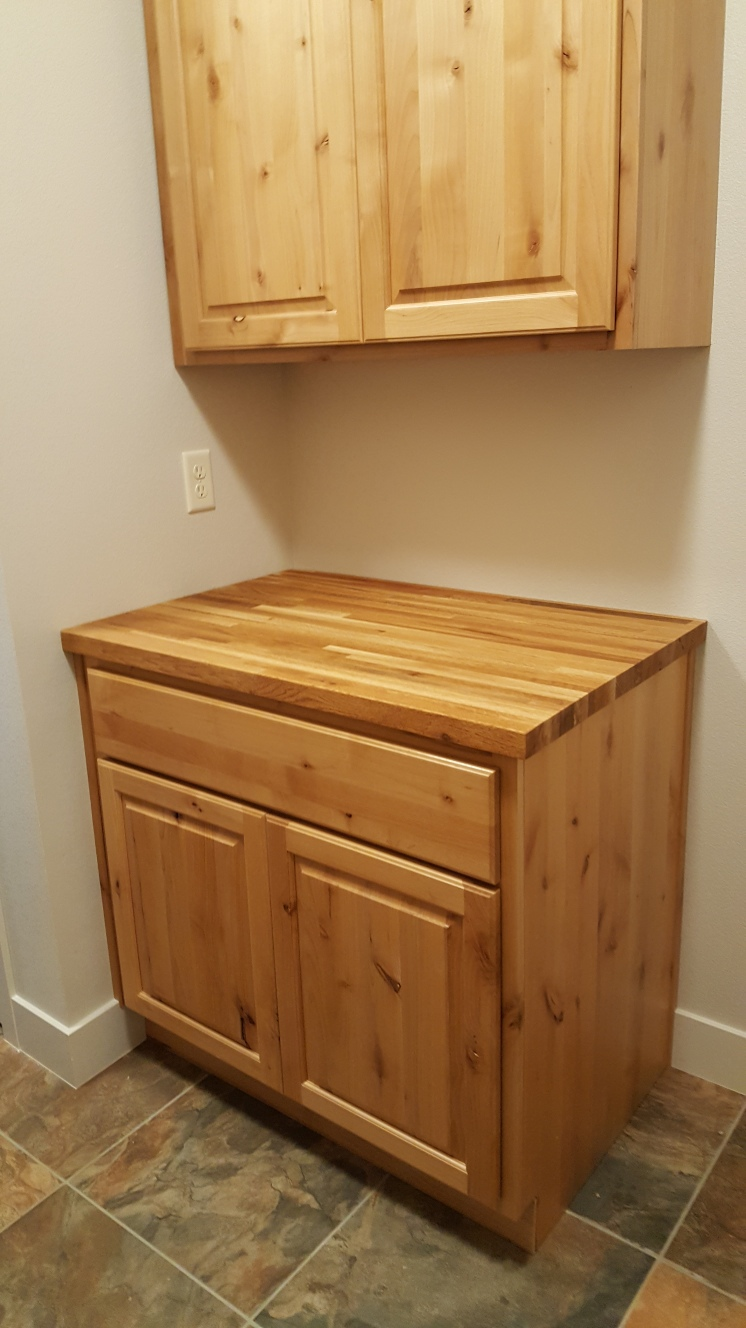 Butcher Block Counter in Laundry Room