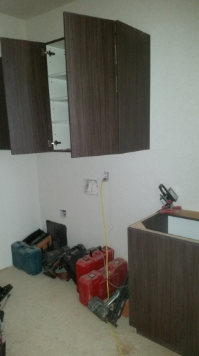 Cabinets in the laundry room