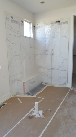 Shower Covered and ready for paint